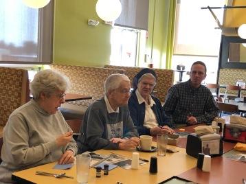 Sr. Lucille Thibodeau, Sr. Marjorie Francoeur, Sr. Jacqueline LeBlanc, and Regina Library Director Dan Speidel
